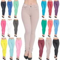 New Skinny Fit Womens Coloured Stretch Jeggings High Waisted Denim Jeans Trouser