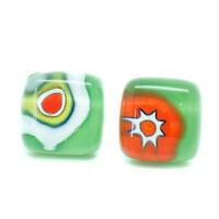 Murano Glass Earrings Green Orange White Millefiori Handmade Venice Stud Square