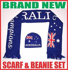 ANZAC day AUSTRALIA flag supporter knitted scarf & beanie hat set gift souvenir