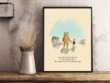 INSPIRATIONAL MOTIVATIONAL WINNIE THE POOH ANY DAY QUOTE A4 POSTER PRINT