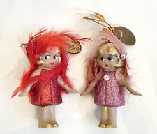 Katherine's Collection Set/2 Little Girl Ornaments - 1 RED and 1 PINK