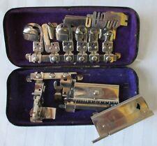 White Sewing Machine Co. Attachments in Tin Box Greist Ruffler Antique