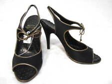 MOSCHINO black satin gold leather trim peep toe heels shoes 6