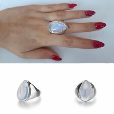 Exaggerated Punk Women Sterling SilverRainbow Moonstone Ring
