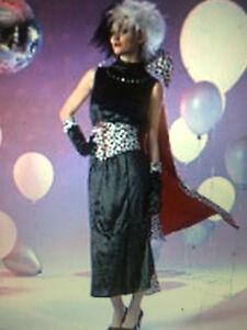 Disney Ladies 101 Dalmations Cruella De Ville Fancy Dress Costume Size Small