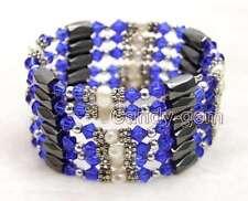 SALE White 4-5mm Natural Pearl and Blue Crystal & Hematite 36'' Bracelet-bra359