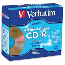 Verbatim Cd-r 700mb 52x Ultralife Gold Archival Grade With Branded Surface And