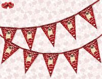 Love Pugs & Kisses Valentines Day Themed Bunting Banner 15 flags by PARTY DECOR