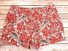 Ann Taylor Loft Floral Shorts Flowers Birds Leaves Orange Pink Red Size 2