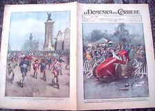 1925 DOMENICA DEL CORRIERE COPERTINA CON INCIDENTE CORSA IN MACCHINA A DETROIT