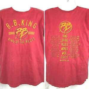 BB King of the Blues World Wide Tour 2009 Concert T-Shirt Large Mens Pigment Dye