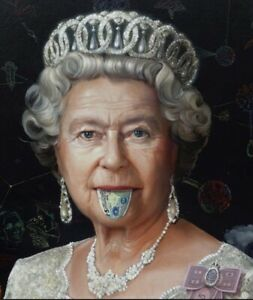 Queen Money Tongue  Canvas Print Wall Art Picture Size 16x20 Inch 18mm