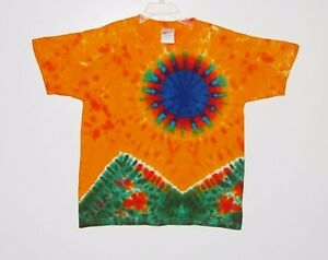 Youth TIE DYE Scarlet>Fire T-Shirt Kids Short Sleeve XS Small Medium Large