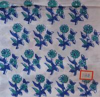 Hand Block Print Pure 100% Cotton Fabric Sanganeri Running 3 Yard Indian