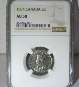 CANADA Canadian 1934 5C NGC AU58 AU 58 UNC FIVE 5 CENT Graded Certified Coin