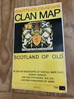 Vintage Bartholomew's Clan Map 'Scotland Of Old' Coats Of Arms+Clan Crests