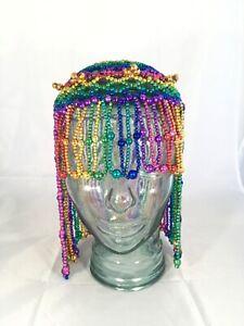Egyptian Cleopatra Rainbow Bead Mardi Gras Headdress Piece Costume Accessory