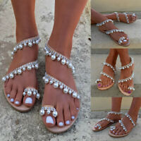 Womens Boho Pearl Sandals Ladies Summer Holiday Beach Rhinestone Flat Shoes Size