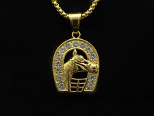 Elvis Presley 50's Horseshoe TCB Crystal Gold Plated Pendant Chain Necklace