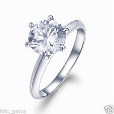 2.00 CT BRILLIANT CUT SOLITAIRE ENGAGEMENT WEDDING RING SOLID 14K WHITE GOLD