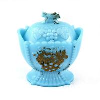 Vintage Westmoreland Turquoise Milk Glass Sugar Candy Dish Bowl w/ Lid