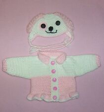 Dolls Clothes Crochet Pink Puppy Dog Sweater & Hat Fits American Girl 18""