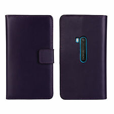 Purple Genuine Leather Business Wallet Card Case Cover for Nokia LUMIA 920