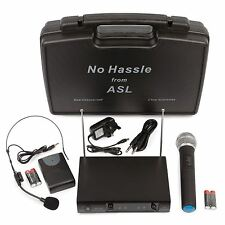 No Hassle Dual VHF Wireless Radio Microphone System Handheld + Headset Mics Case