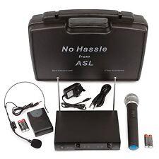 No Hassle Dual VHF Wireless Radio Microphone System Handheld + Headset Mics Case