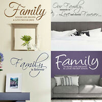 Family Quote Wall Stickers! Vinyl Transfer Home Graphic Decal Decor Art Stencil