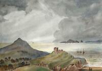 ROCKY COASTLINE POSSIBLY WALES? Victorian Watercolour Painting 19TH CENTURY