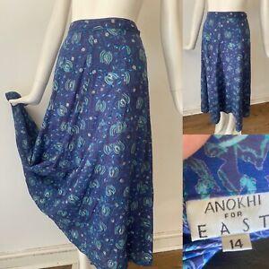 Vgc East X Anokhi Indian Blue Block Print Cotton Boho Hippy Skirt 14 W30