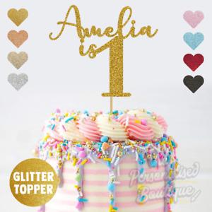 Personalised Custom Glitter Cake Topper, is One First 1st Birthday Girls Boys