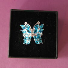 Beautiful Silver Ring With Butterfly Swiss Blue Topaz Gem Size O12 In Gift Box