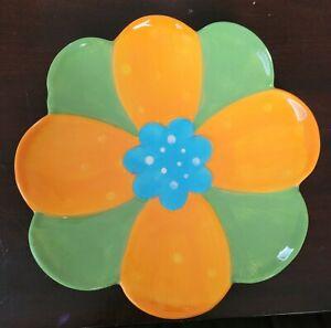 Ashland Summer Living Green & Orange Petal Ceramic Plate, Microwave Safe