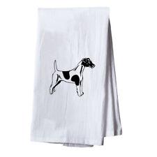 Fox Terrier (Smooth) Black Dish Flour Sack Kitchen Towel