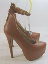 "new ladies Tan 6""Stiletto High Heel 2""Platform Ankle Strap Sexy Shoes Size 7.5"