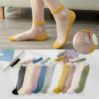 Women Transparent Thin Daisy  Flower Lace Socks Crystal Silk Short Ankle Socks