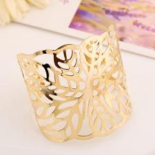 Cuff Bangle Open Wide Bracelet Jewelry Retro Women Lady Gold Hollow Flower Punk