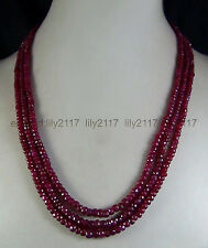 NEW 3 STRAND 2x4mm NATURAL RUBY FACETED BEADS NECKLACE