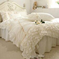 Luxury Beige Bedding Set Ruffle Lace Duvet Covers European Romantic Bedding Hot