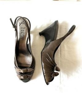 Franco Sarto Women's Dark Gray Patent Leather Open Toe Wedges Slingback Heels