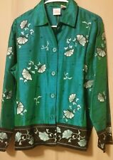 BLEU BAYOU - Turquoise LS Blouse Silk with Beading Embroidery S/P NWT  B6