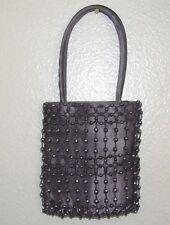 Women' Small Dark Grey Beaded Satin Mini Evening Hand Bag