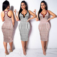 Womens Midi Skirt Bodycon Dress Sleeveless Party Cocktail Lattice Clubwear Slim