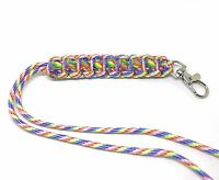 Rainbow US 550 Paracord Neck Lanyard / Key Chain Survival strap ID holder