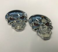 "2x3D Skull Metal Sticker Decal Emblem 2"" x 1-1/4"" For Car Truck Motorcycle #K6"