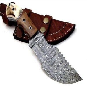 Custom Handmade Hand FORGED DAMASCUS STEEL TRACKER HUNTING Fix Blade Knife