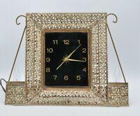 Vintage Brass Filigree Lighted Stand Up Clock Mantle Vanity Electric Metal Glass