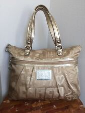 AUTHENTIC COACH POPPY LUREX GOLD SIGNATURE HEART METALLIC GLAM TOTE LARGE BAG